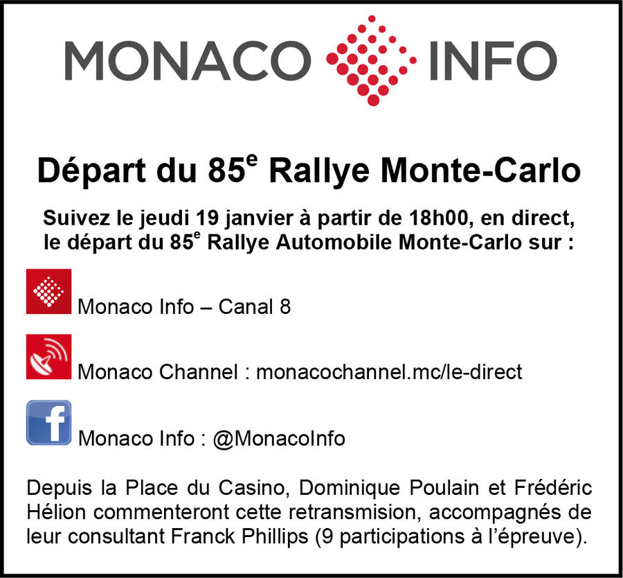 le d part du 85e rallye automobile monte carlo en direct sur monaco info news automobile. Black Bedroom Furniture Sets. Home Design Ideas