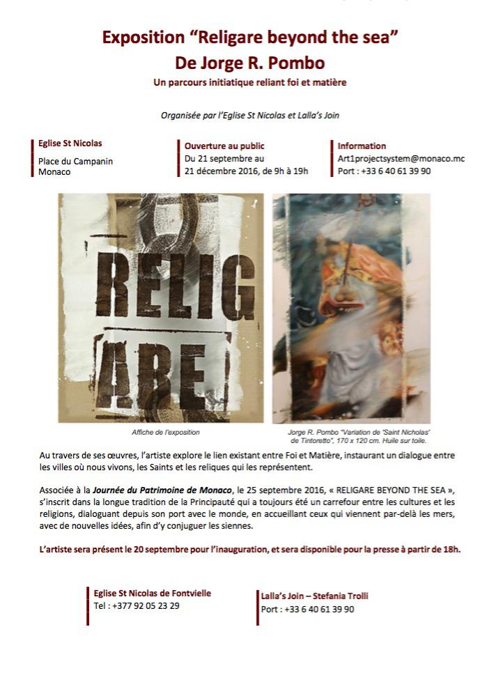 "Exposition ""Religare beyond the sea"" De Jorge R. Pombo à l'Église Saint-Nicolas -"